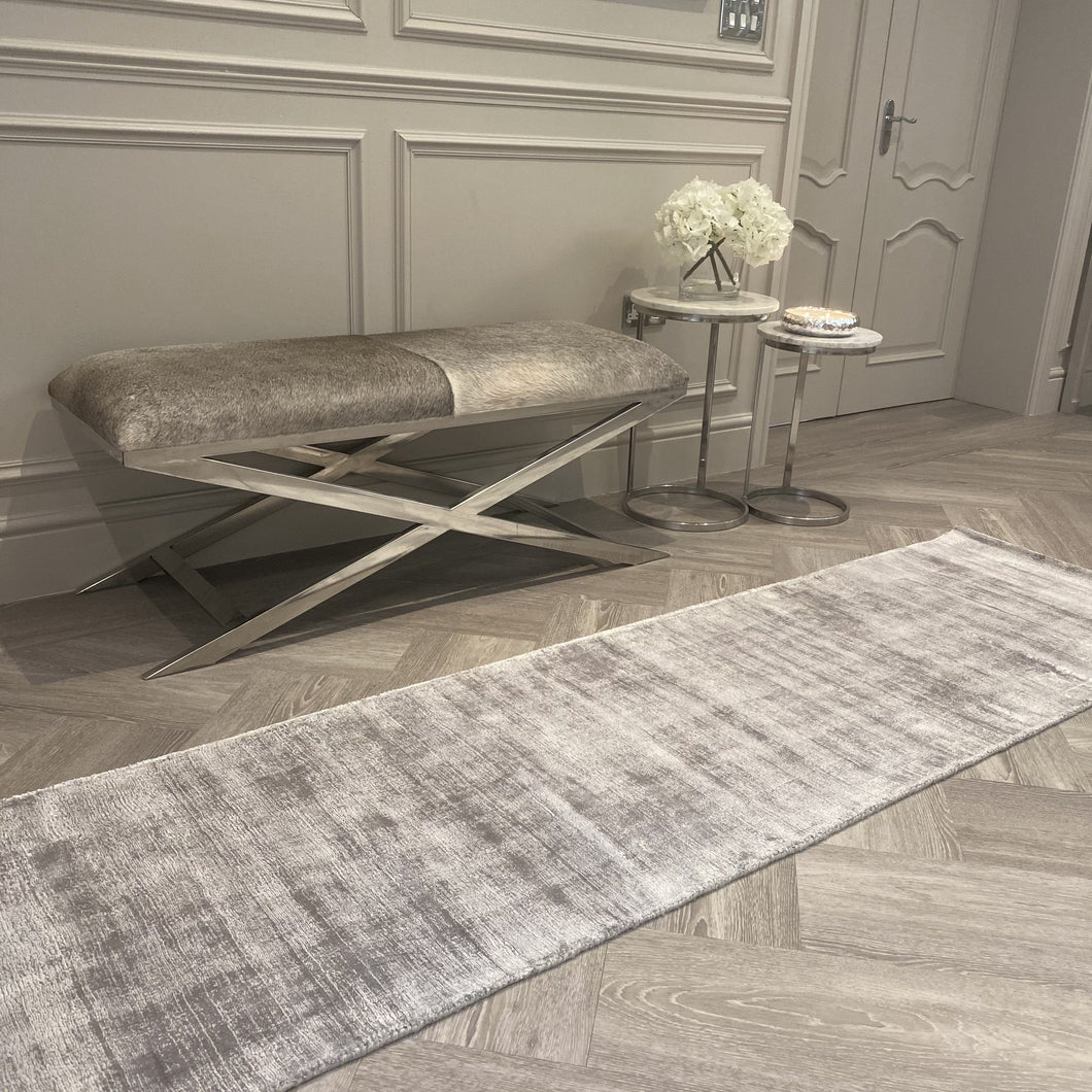 Silver runner rug in distressed design