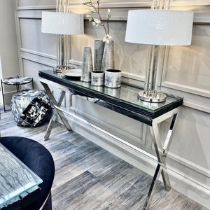 Bossier Premium Black Console Table with Silver Cross Base Furniture