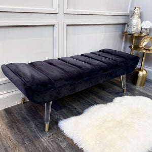 Camille Black Velvet Bench with Acrylic Legs