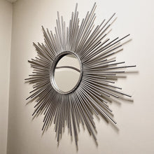 Load image into Gallery viewer, Sunburst wall mirror in silver