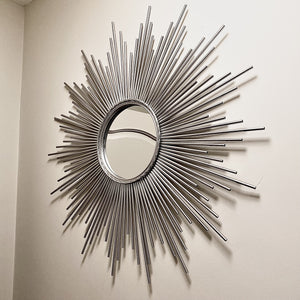 Sunburst wall mirror in silver