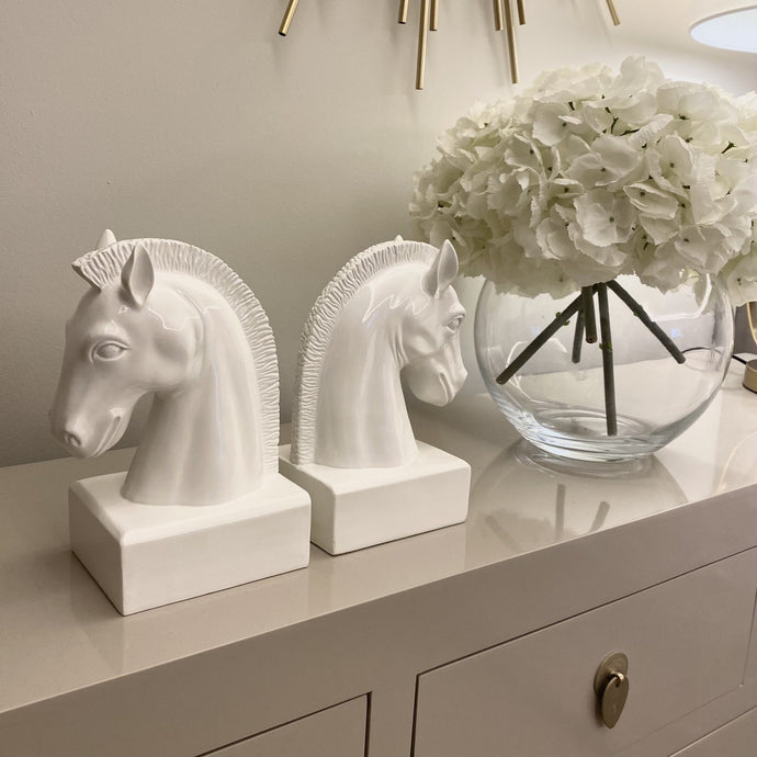 Large white horse head bookend