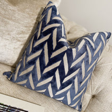 Load image into Gallery viewer, Charles Blue Chevron Cushion - 43 x 43cm