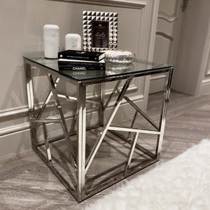 Chrysler Stainless Steel Metal Side Table