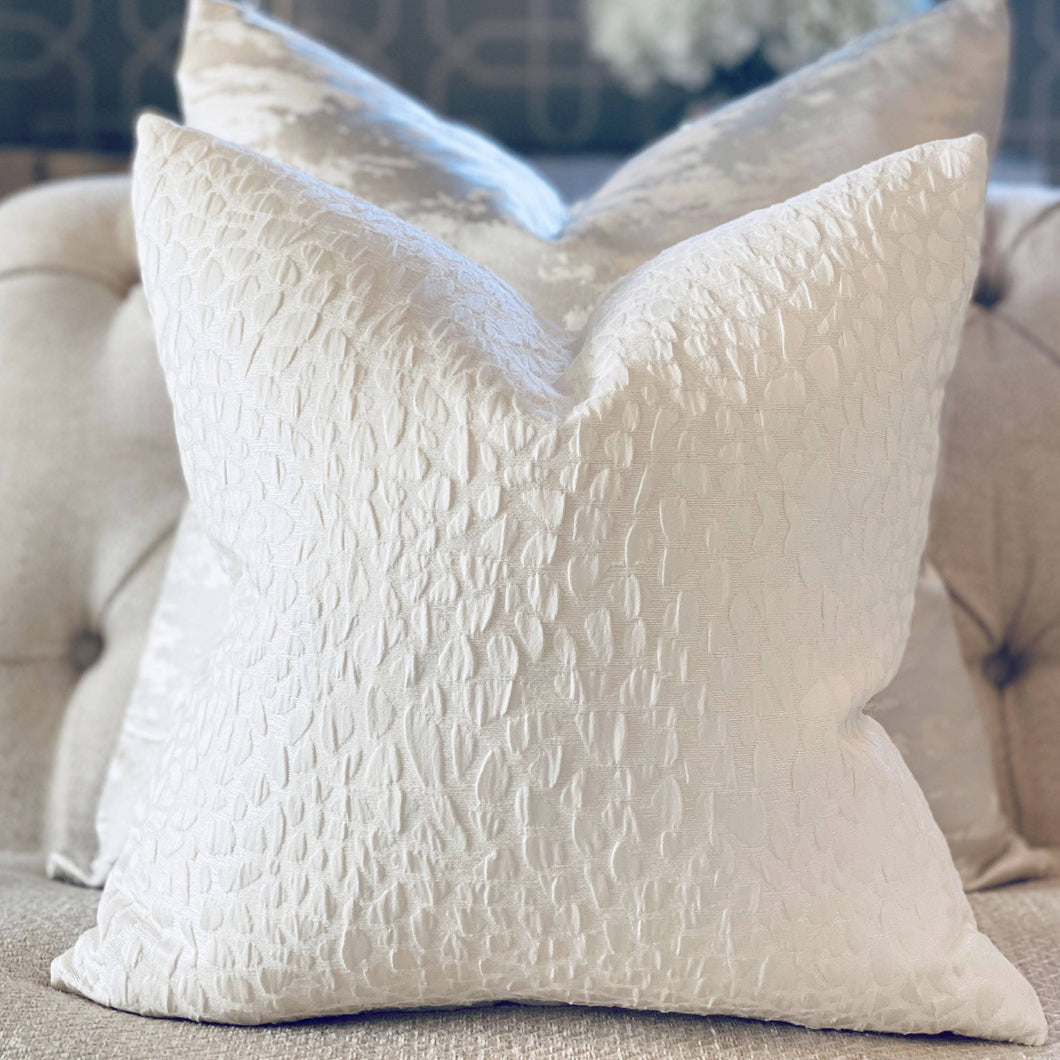 Cobble Ivory White Textured Scatter Cushion