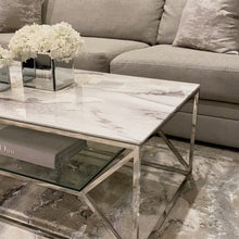 Load and play video in Gallery viewer, Aula Marble Glass Silver Coffee Table