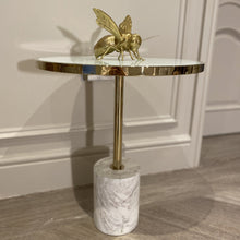 Load image into Gallery viewer, Forio White Marble & Gold End Table Table