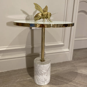 Forio White Marble & Gold End Table Table