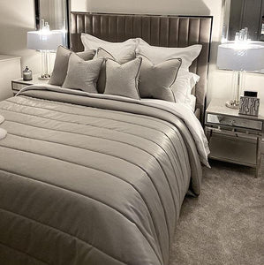 Galaxy Platinum Satin and Cotton Fluted Bedspread