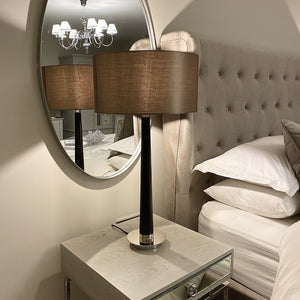 Table lamp with a walnut stand and mink lampshade