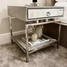 Load image into Gallery viewer, Grey and silver bedside table with shelf