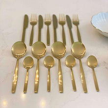 Load image into Gallery viewer, Pharaoh Gold Finish 16 Piece Cutlery Set