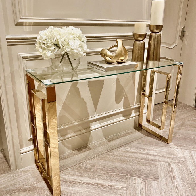 Simone Gold Metal Console Table Furniture
