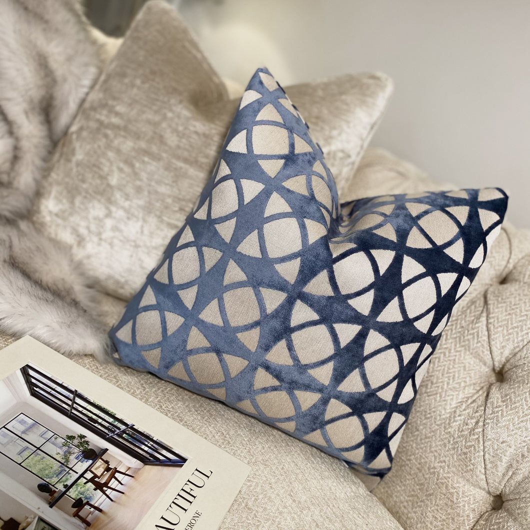 Tadley Blue Spiral Cushion