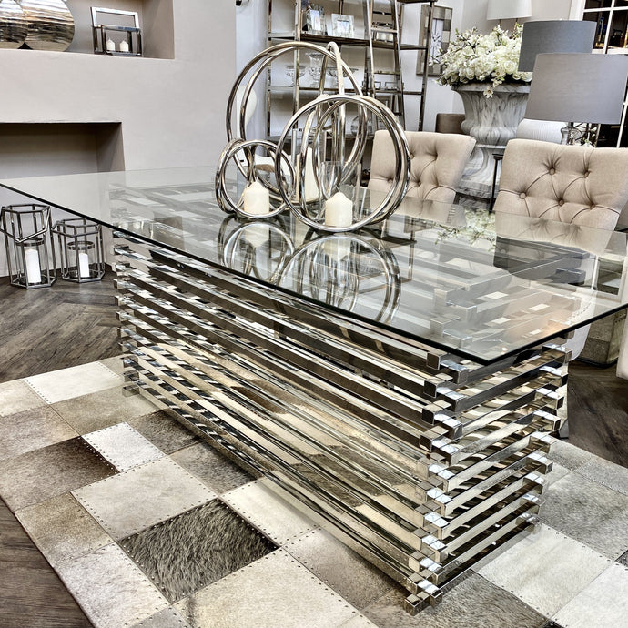 Verona Premium Silver Glass Dining Table