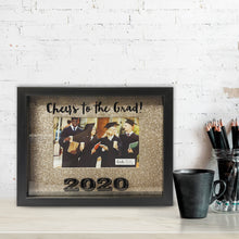 Load image into Gallery viewer, Shadowbox Cheers to the Grad 2020 Picture Frame 4-inch by 6-inch Gold Glitter