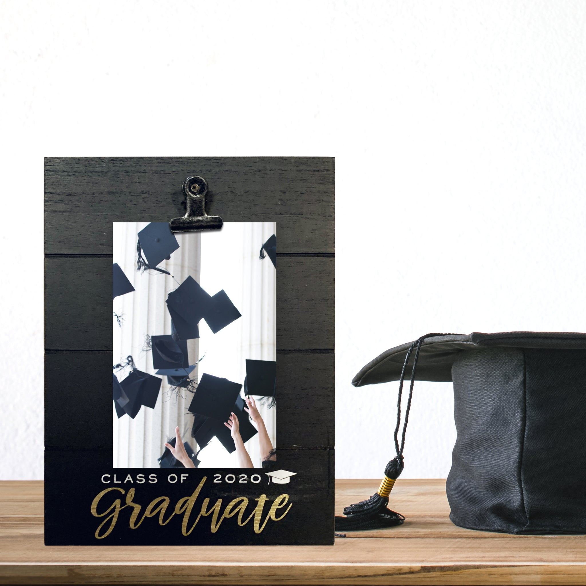 Black Shiplap Class of 2020 Graduate Picture Frame with Metallic Gold Foil 4-inch by 6-inch