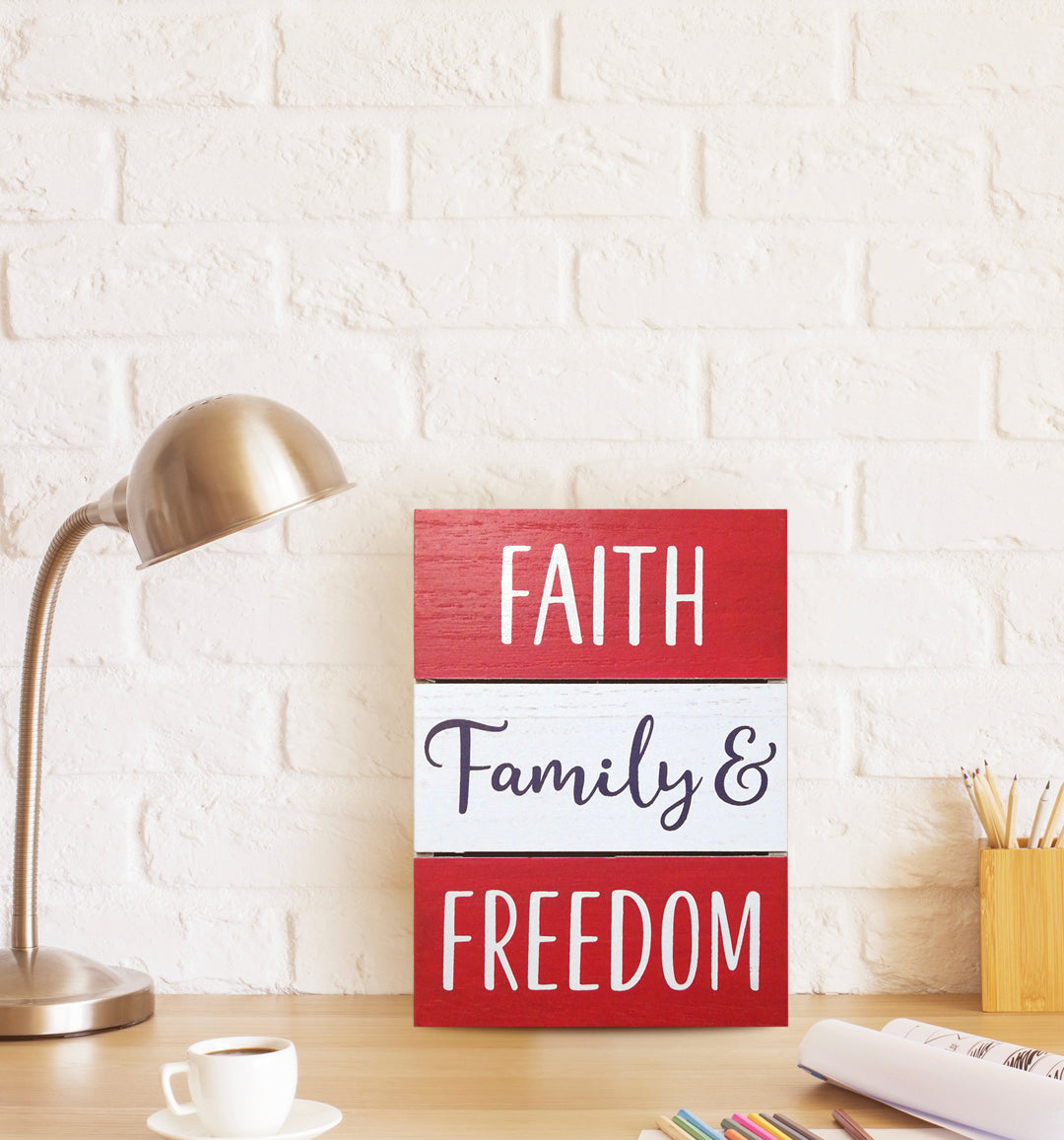 Prinz Patriotic Plank Tabletop Box Sign Faith Family & Freedom