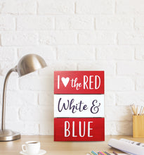 Load image into Gallery viewer, Prinz Patriotic Plank Tabletop Box Sign Heart the Red White and Blue