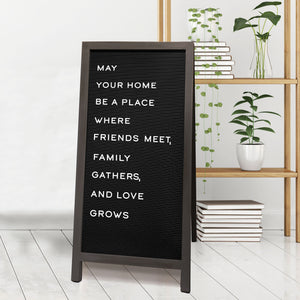 Black Sandwich Letterboard with Gray Frame 36-inch by 17-inch, Letter Pack Included