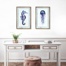 Load image into Gallery viewer, Ava Barrett Set of 2 Framed Seahorse, & Jellyfish Wall Art