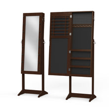 Load image into Gallery viewer, Brown Jewelry Organizer Cabinet Armoire, with Full Length Mirror, 16 LED Lights