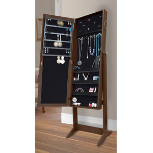 Brown Jewelry Organizer Cabinet Armoire, with Full Length Mirror, 16 LED Lights