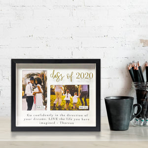 Graduation 2020 Thoreau Quoted 2-Opening 3.5-inch by 5-inch Shadowbox Picture Frame