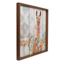 Load image into Gallery viewer, Happy Llama Framed Print on Wood Wall Art 20-inches by 20-inches, Multicolor