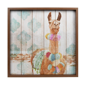 Happy Llama Framed Print on Wood Wall Art 20-inches by 20-inches, Multicolor