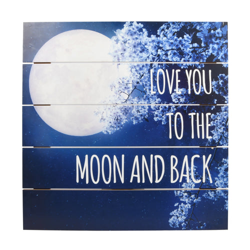 Love You To The Moon Printed Paper Plank Wall Art 24-inches by 24-inches, Blue