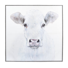 Load image into Gallery viewer, Embellished White Cow Framed Canvas Wall Art 35-inches by 35-inches