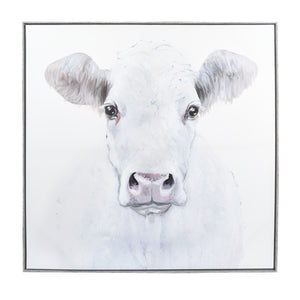 Embellished White Cow Framed Canvas Wall Art 35-inches by 35-inches