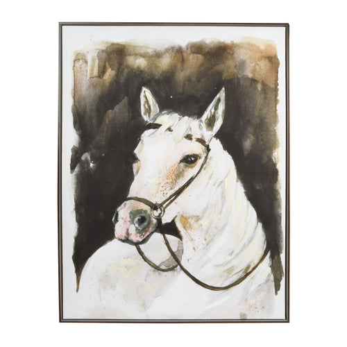 White Stallion Framed Embellished Canvas Wall Art 40-inches by 30-inches