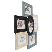 Load image into Gallery viewer, Multi-Shaped Wood 6 Opening Collage Picture Frame, Gray-Ivory