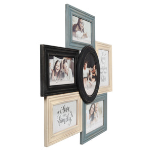 Multi-Shaped Wood 6 Opening Collage Picture Frame, Gray-Ivory