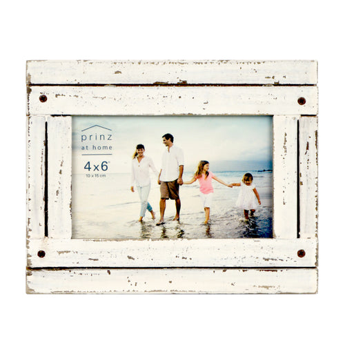 Homestead 4-inch x 6-inch Distressed Wood Picture Frame, White