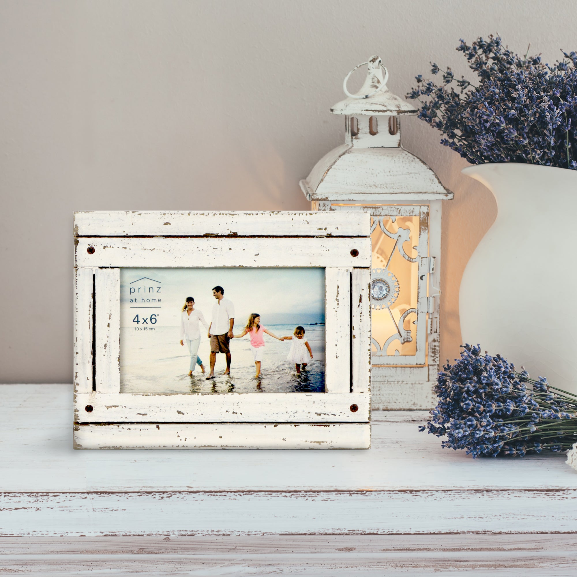 Set of Four, Homestead 4-Inch by 6-Inch Rustic Frame, Antique White