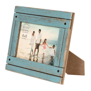 Homestead 4-inch x 6-inch Rustic Wood Picture Frame, Distressed Blue