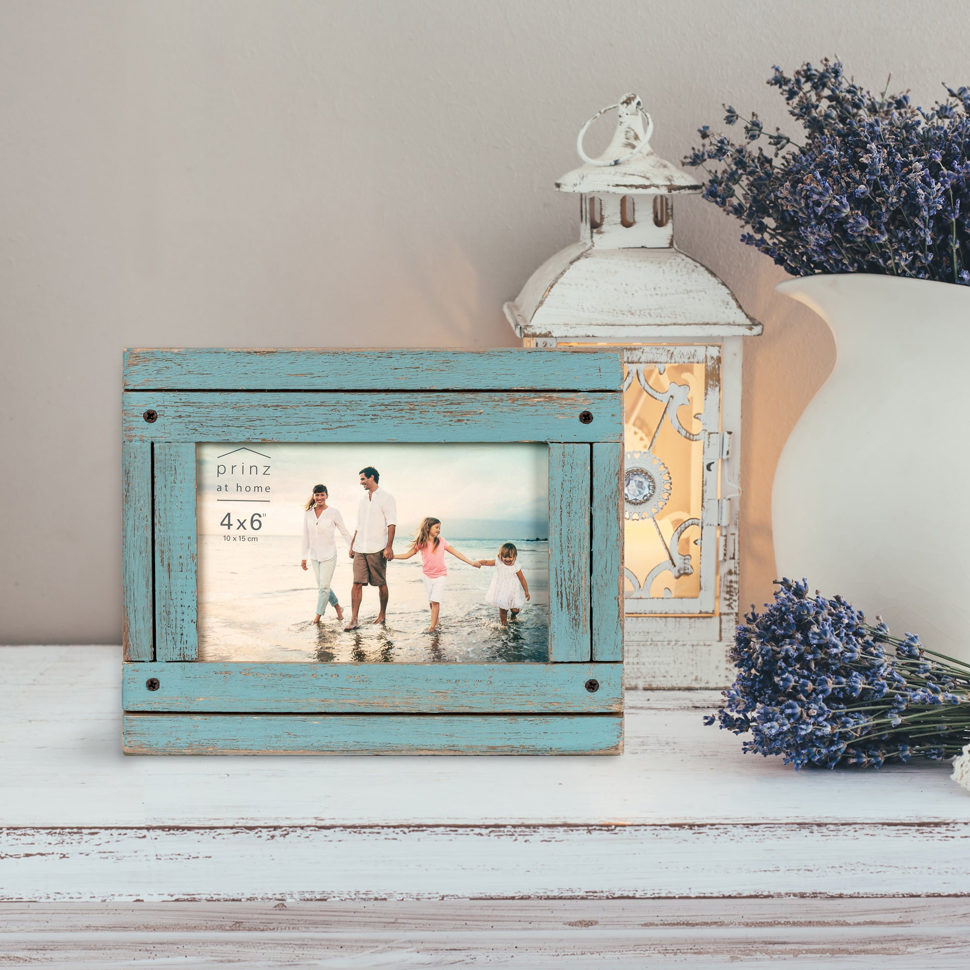Set of Four, Homestead 4-Inch by 6-Inch Rustic Frame, Coastal Blue