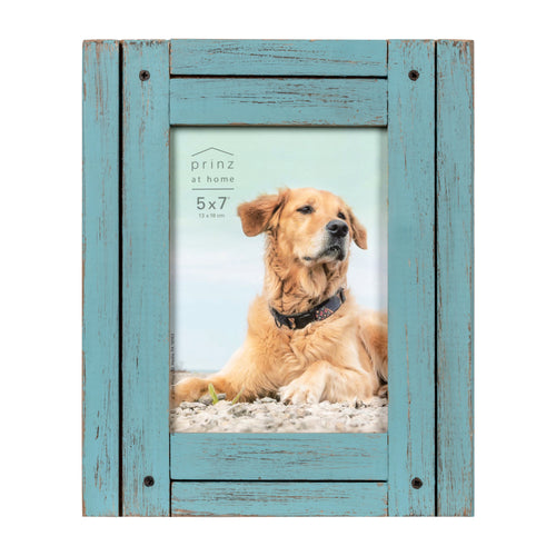 Set of Four, Homestead 5-Inch by 7-Inch Rustic Frame, Coastal Blue