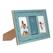 Load image into Gallery viewer, Homestead Collage 4-inch by 6-inch Picture Frame for Three Photos, Distressed Blue
