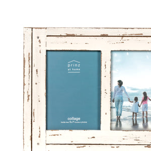 Homestead Collage 5-inch by 7-inch Picture Frame for Two Photos, Distressed White