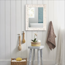 Load image into Gallery viewer, Homestead 18.5-Inch by 23.5-Inch Distressed Wood Mirror, Antique White