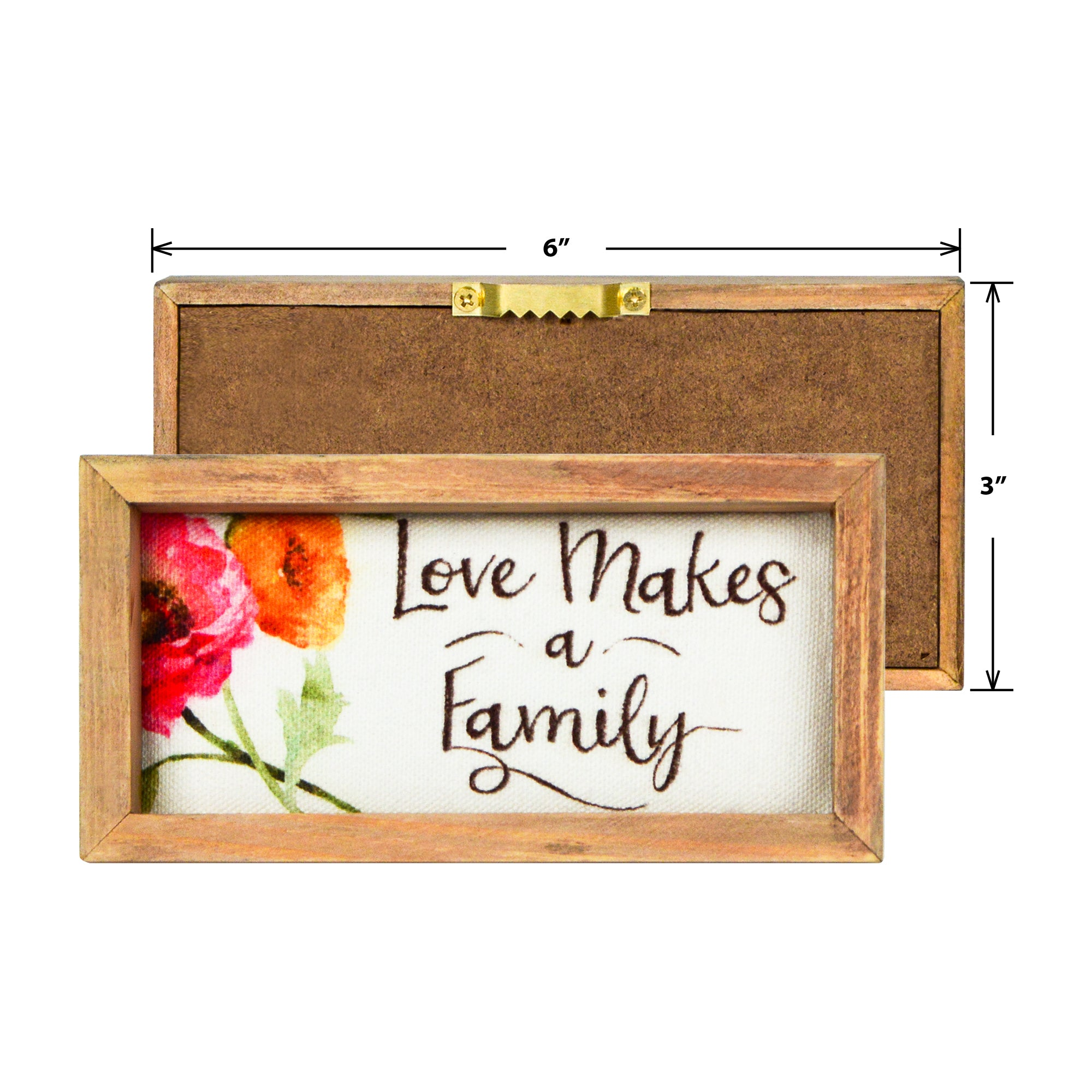 "Lisa Audit 6.5""x 3.25"" Love Makes a Family Decorative Wood Framed Canvas Wall Art"