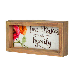 Lisa Audit Decorative Wood Framed Canvas Wall Sign, Love Makes a Family