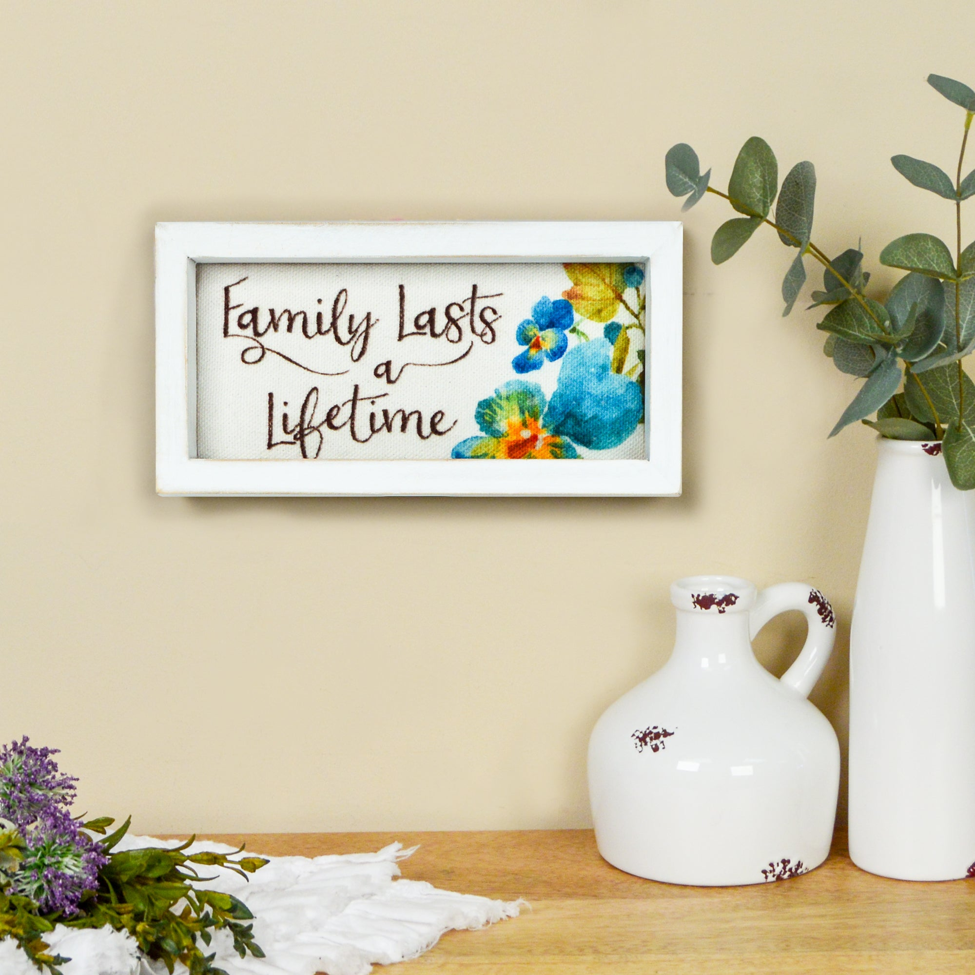 "Lisa Audit 6.5""x 3.25"" Family Lasts a Lifetime Decorative Wood Framed Canvas Wall Art"