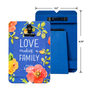 Mini Blue Floral Planked Clip Picture Frame