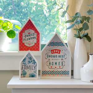 Lisa Audit Decorative Wooden Nesting Houses Family Signs, Blue