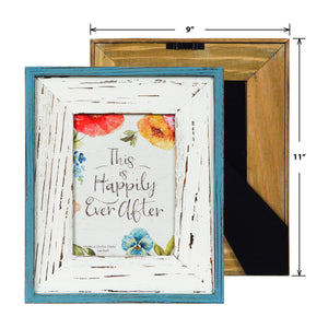 Lisa Audit Distressed Wood 5-inches by 7-inches Picture Frame, Weathered White/Teal